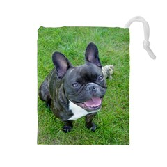 Sitting 2 French Bulldog Drawstring Pouch (Large)