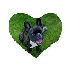 Sitting 2 French Bulldog Standard 16  Premium Flano Heart Shape Cushion