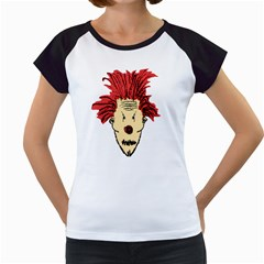 Evil Clown Hand Draw Illustration Women s Cap Sleeve T-Shirt (White)