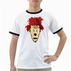 Evil Clown Hand Draw Illustration Men s Ringer T-shirt