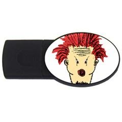 Evil Clown Hand Draw Illustration 4gb Usb Flash Drive (oval)