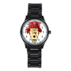 Evil Clown Hand Draw Illustration Sport Metal Watch (black)