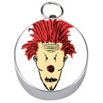 Evil Clown Hand Draw Illustration Silver Compass Front
