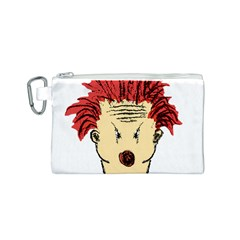 Evil Clown Hand Draw Illustration Canvas Cosmetic Bag (small)