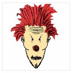 Evil Clown Hand Draw Illustration Satin Scarf (Square)