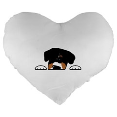 Peeping Entlebucher Large 19  Premium Flano Heart Shape Cushion