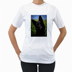 Black German Shepherd Women s Two-sided T-shirt (White)