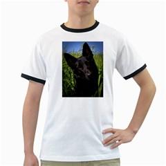 Black German Shepherd Men s Ringer T-shirt