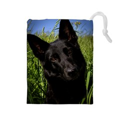 Black German Shepherd Drawstring Pouch (Large)