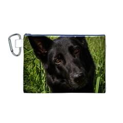 Black German Shepherd Canvas Cosmetic Bag (Medium)