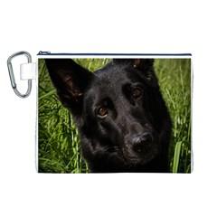 Black German Shepherd Canvas Cosmetic Bag (Large)