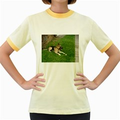 3 German Shepherd Laying Women s Ringer T-shirt (Colored)