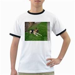 3 German Shepherd Laying Men s Ringer T-shirt
