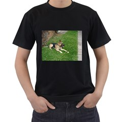 3 German Shepherd Laying Men s Two Sided T-shirt (Black)