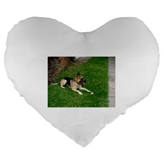 3 German Shepherd Laying Large 19  Premium Flano Heart Shape Cushion