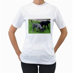 Dane Pups Women s Two-sided T-shirt (White)