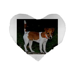 Jack Russell Terrier Full Standard 16  Premium Flano Heart Shape Cushion