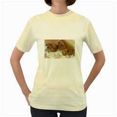 Apricot Poodle Pups Women s T-shirt (Yellow)