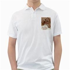 Apricot Poodle Pups Men s Polo Shirt (white)