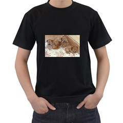 Apricot Poodle Pups Men s Two Sided T-shirt (Black)