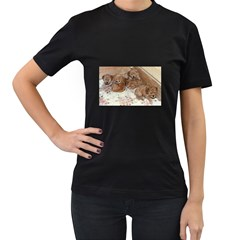 Apricot Poodle Pups Women s Two Sided T-shirt (Black)