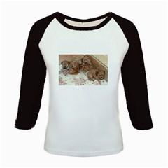 Apricot Poodle Pups Kids Long Cap Sleeve T-Shirt