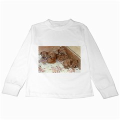 Apricot Poodle Pups Kids Long Sleeve T-Shirt