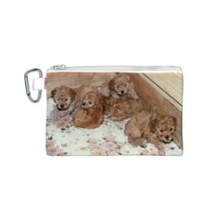 Apricot Poodle Pups Canvas Cosmetic Bag (Small)
