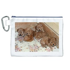 Apricot Poodle Pups Canvas Cosmetic Bag (XL)