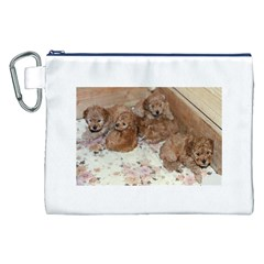 Apricot Poodle Pups Canvas Cosmetic Bag (XXL)