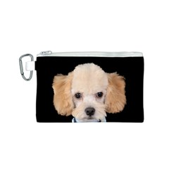 Apricot Poodle Canvas Cosmetic Bag (Small)
