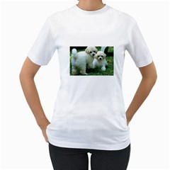 White 2 Poodle Pups Women s Two-sided T-shirt (White)