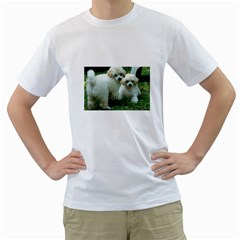 White 2 Poodle Pups Men s Two-sided T-shirt (White)