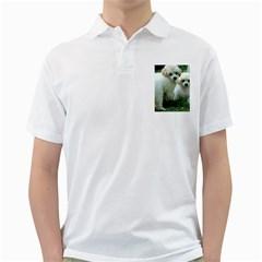 White 2 Poodle Pups Men s Polo Shirt (White)