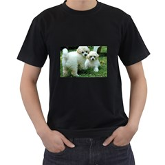 White 2 Poodle Pups Men s Two Sided T-shirt (Black)