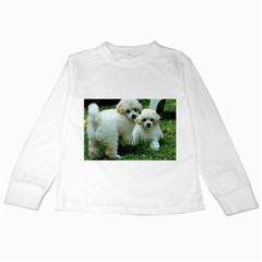 White 2 Poodle Pups Kids Long Sleeve T-Shirt