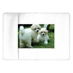 White 2 Poodle Pups Samsung Galaxy Tab 10.1  P7500 Flip Case