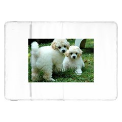 White 2 Poodle Pups Samsung Galaxy Tab 8.9  P7300 Flip Case
