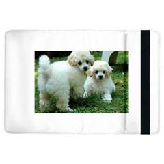 White 2 Poodle Pups Apple iPad Air Flip Case