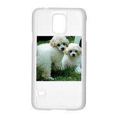 White 2 Poodle Pups Samsung Galaxy S5 Case (White)