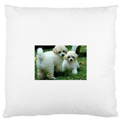 White 2 Poodle Pups Standard Flano Cushion Case (Two Sides)