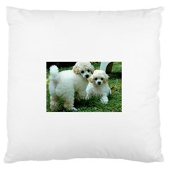 White 2 Poodle Pups Large Flano Cushion Case (Two Sides)