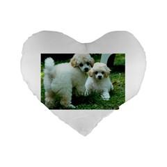 White 2 Poodle Pups Standard 16  Premium Flano Heart Shape Cushion