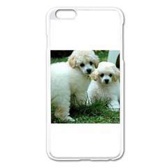 White 2 Poodle Pups Apple iPhone 6 Plus Enamel White Case