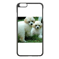 White 2 Poodle Pups Apple iPhone 6 Plus Black Enamel Case