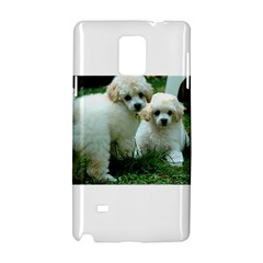 White 2 Poodle Pups Samsung Galaxy Note 4 Hardshell Case