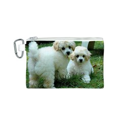 White 2 Poodle Pups Canvas Cosmetic Bag (Small)