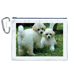 White 2 Poodle Pups Canvas Cosmetic Bag (XL)