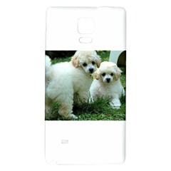 White 2 Poodle Pups Samsung Note 4 Hardshell Back Case