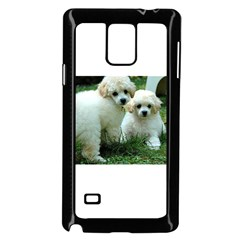 White 2 Poodle Pups Samsung Galaxy Note 4 Case (black)